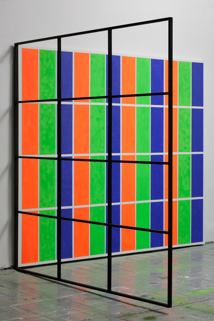 RGB Grid No. 2  from the DATA series  224 x 270 x 228 cm  mixed media, canvas, wood  2014