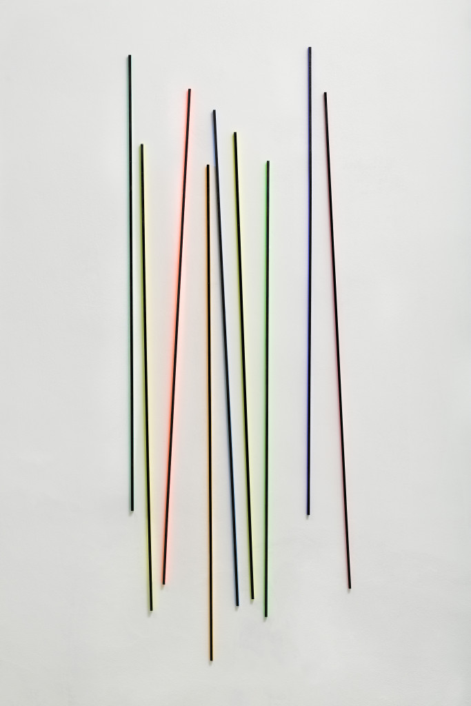 RGB3D Lines No. 5  from the DATA series / 9 parts, 165 x 180 x 1 x 2 cm / mixed media, wood / 2014