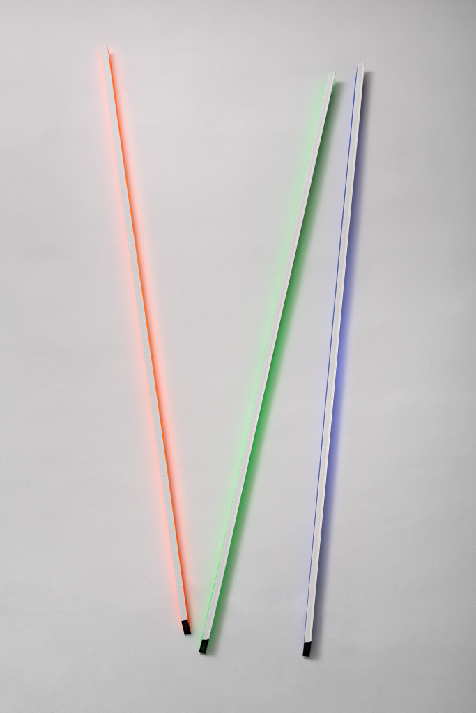 RGB3D Lines No. 6  from the DATA series / 3 parts, 265 x 3 x 5 cm / mixed media, canvas / 2014