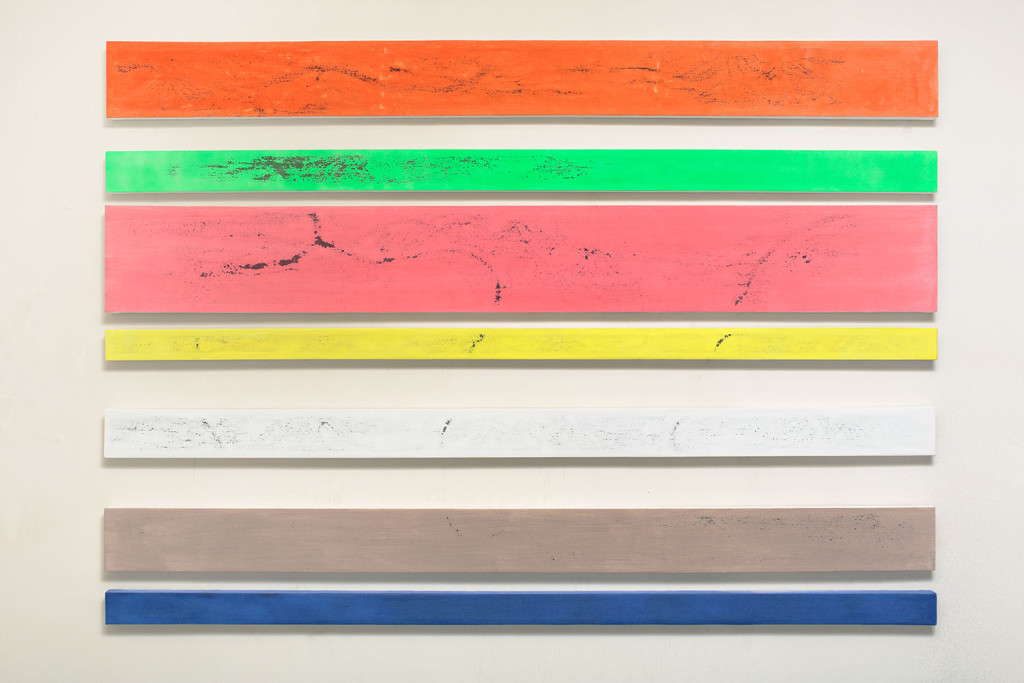 GEO-metry no. 10 / from the Residential Sector series / 24, 13, 33, 10, 15, 20 and 10 x 260 cm / mixed media, canvas / 2013